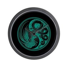 Dragon Phoenix Yin Yang Teal and Black Wall Clock