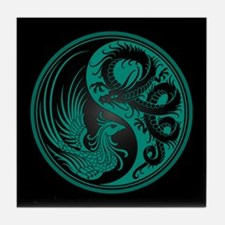 Dragon Phoenix Yin Yang Teal and Black Tile Coaste