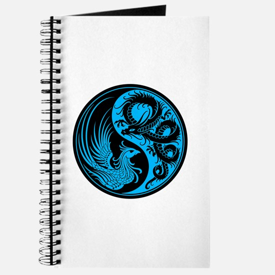 Blue And Black Dragon Phoenix Yin Yang Journal