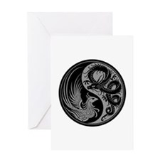 Gray And Black Dragon Phoenix Yin Greeting Cards