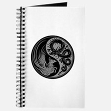 Gray And Black Dragon Phoenix Yin Yang Journal