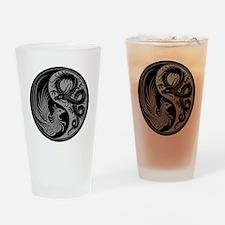 Gray and Black Dragon Phoenix Yin Yang Drinking Gl
