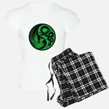 Green and Black Dragon Phoenix Yin Yang pajamas