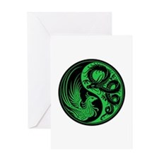 Green And Black Dragon Phoenix Yin Greeting Cards