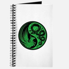 Green And Black Dragon Phoenix Yin Yang Journal