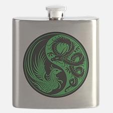 Green and Black Dragon Phoenix Yin Yang Flask