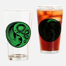 Green and Black Dragon Phoenix Yin Yang Drinking G