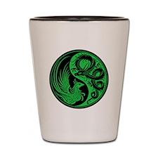 Green and Black Dragon Phoenix Yin Yang Shot Glass