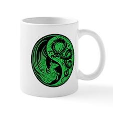 Green and Black Dragon Phoenix Yin Yang Mugs