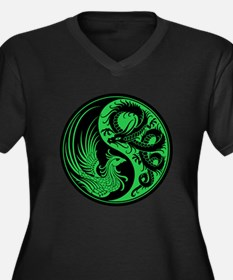 Green and Black Dragon Phoenix Yin Yang Plus Size