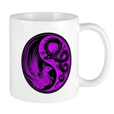 Purple and Black Dragon Phoenix Yin Yang Mugs