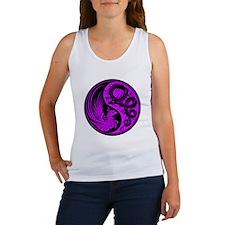 Purple and Black Dragon Phoenix Yin Yang Tank Top