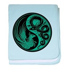 Teal Blue and Black Dragon Phoenix Yin Yang baby b