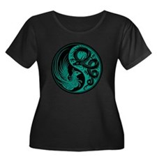 Teal Blue and Black Dragon Phoenix Yin Yang Plus S