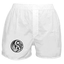 White and Black Dragon Phoenix Yin Yang Boxer Shor