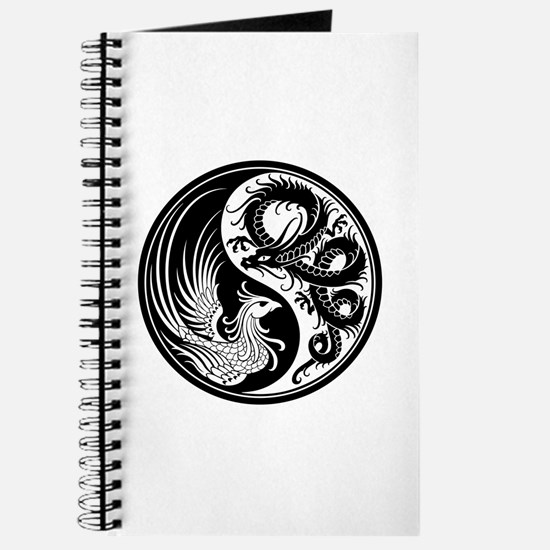 White And Black Dragon Phoenix Yin Yang Journal