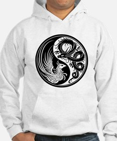 White and Black Dragon Phoenix Yin Yang Hoodie Swe