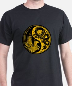 Yellow and Black Dragon Phoenix Yin Yang T-Shirt