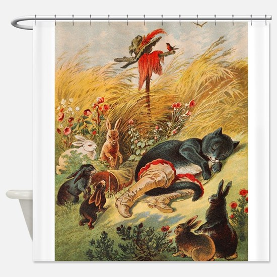 Fayry tale Puss in Boots Shower Curtain