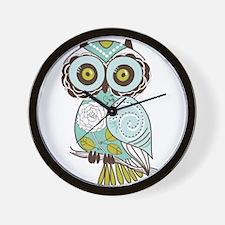 Teal Green Owl -2 Wall Clock