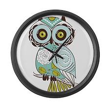 Teal Green Owl -2 Large Wall Clock