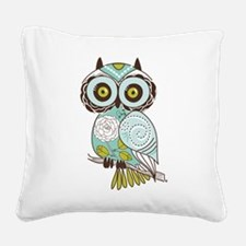 Teal Green Owl -2 Square Canvas Pillow
