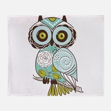Teal Green Owl -2 Throw Blanket