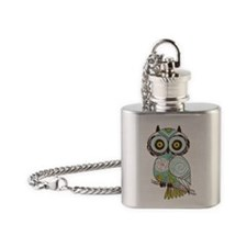 Teal Green Owl -2 Flask Necklace