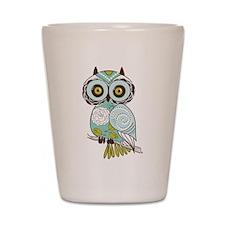 Teal Green Owl -2 Shot Glass