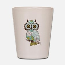 Teal Green Owl -2 Shot Glass