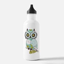 Teal Green Owl -2 Water Bottle