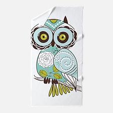 Teal Green Owl -2 Beach Towel