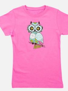 Teal Green Owl -2 Girl's Tee