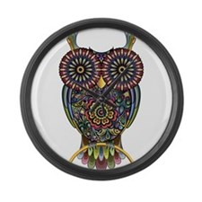 Vibrant Owl Large Wall Clock
