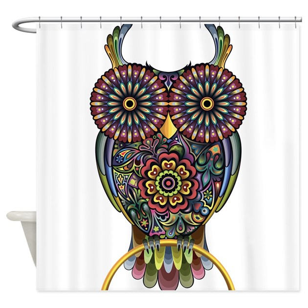 Vibrant Owl Shower Curtain By Worldofanimals