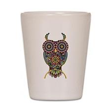 Vibrant Owl Shot Glass