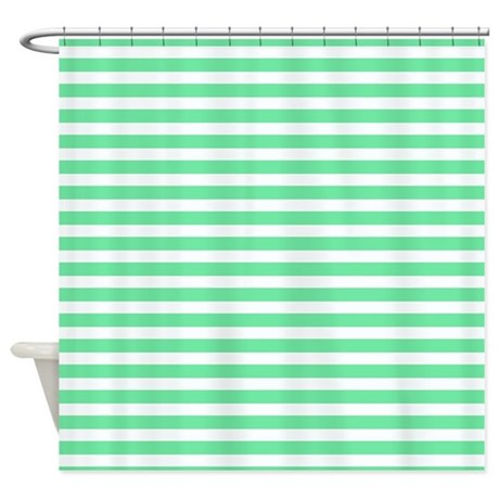 mint green and white striped shower curtain by patternedshop. Black Bedroom Furniture Sets. Home Design Ideas