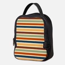Funky Retro Stripes Neoprene Lunch Bag