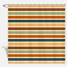 Funky Retro Stripes Shower Curtain