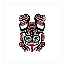 Red and Black Haida Tree Frog Square Car Magnet 3""