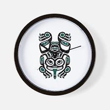 Teal Blue and Black Haida Tree Frog Wall Clock