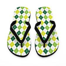 Green Argyle Pattern Flip Flops