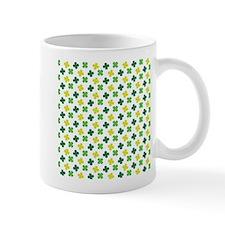 Green and White Shamrock Pattern Mugs
