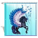 Blue Winged Pegasus Shower Curtain