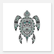 Teal Blue and Black Haida Sea Turtle Square Car Ma