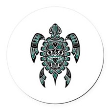 Teal Blue and Black Haida Sea Turtle Round Car Mag