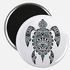 Teal Blue and Black Haida Sea Turtle Magnets