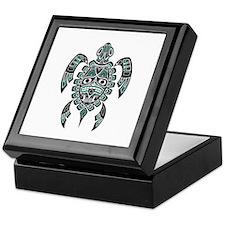 Teal Blue and Black Haida Sea Turtle Keepsake Box