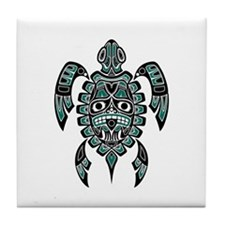Teal Blue and Black Haida Sea Turtle Tile Coaster