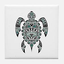 Teal Blue and Black Haida Sea Turtle Tile Coaster